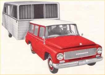 Travelall är en stor och flexibel stationsvagn som kan fungera  som minibuss och som laståsna. Det här är framsidan på en  broschyr över 1000-serien från 1963.